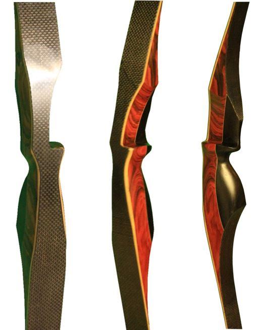 Recurve Bogen mit Kohlefaser Gewebe und Schichtholz Palisander Griff